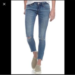 Free People Cropped Frayed Distressed Jeans